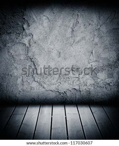 wood floor and concrete wall textured backgrounds in a room interior - stock photo