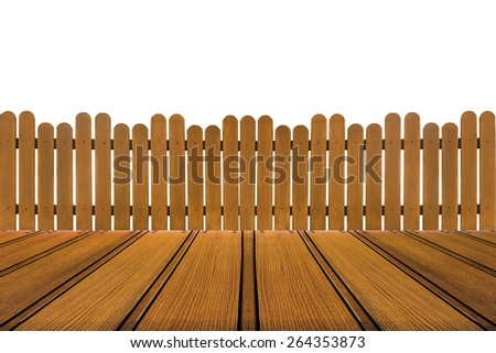 wood floor and wooden fence on white background - stock photo