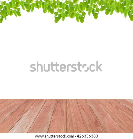Wood floor on Green leaves frame isolated on white background - stock photo