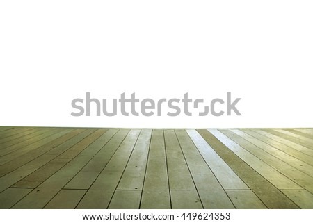 Wood floor texture in light color tone isolated on white background. nature good Perspective warm wooden floor texture. Empty room with wall and wooden floor. Art Wood Design Element Painted 17 - stock photo
