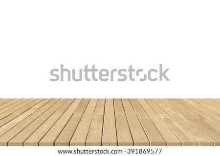 Wood floor texture with edge in light yellow gold brown color tone isolated on white background: Natural wooden deck terrace balcony plank board backdrop for interior/ architectural design decoration - stock photo