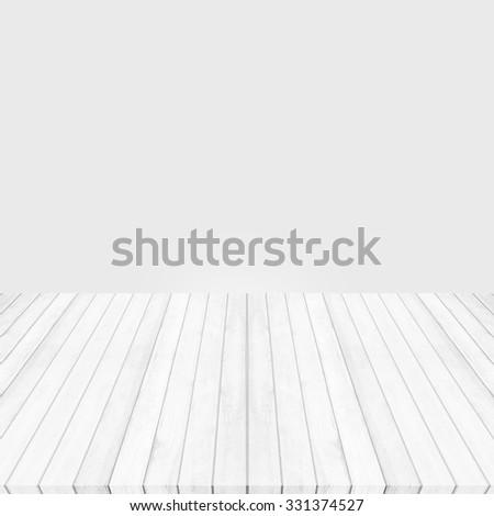 Wood floor white - gray perspective on gray background. - stock photo