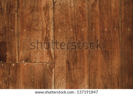 wood floor with nails - stock photo