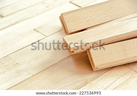 Wood Flooring Installation - stock photo