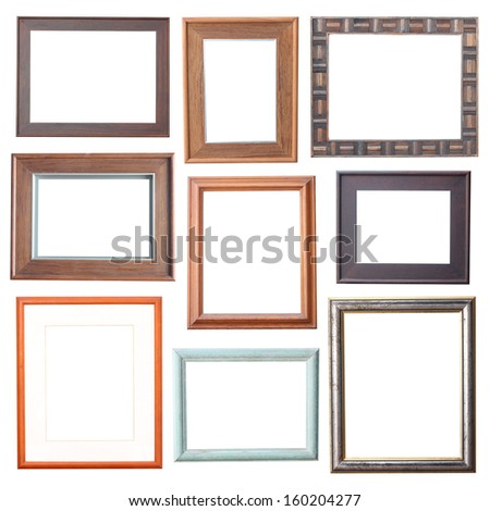 wood frame Collection on white background  - stock photo