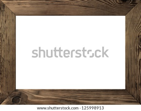 Wood frame isolated inside, old dark brown planks - stock photo