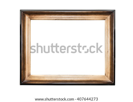 Wood frame isolated on a white background. - stock photo