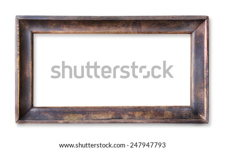 Wood frame isolated on white - stock photo