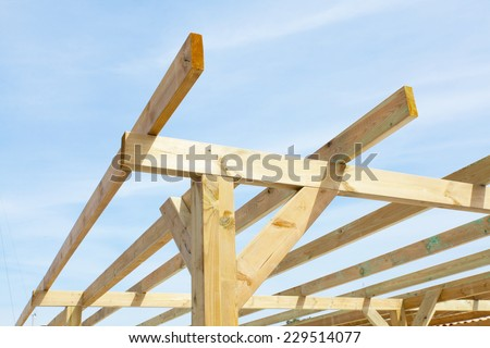 wood frame of a shelter - stock photo