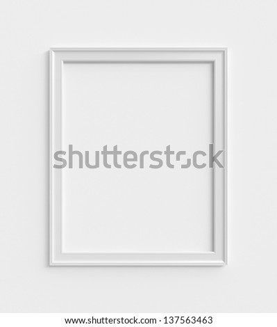 wood frame on a white wall - stock photo