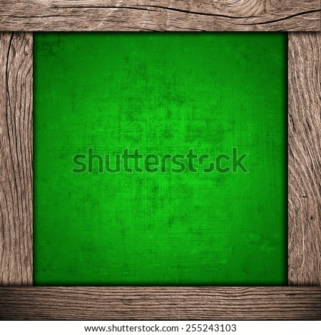 wood frame with metallic background - stock photo