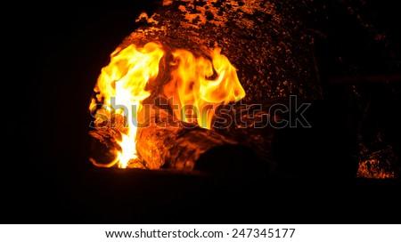 wood fuel boiler - stock photo