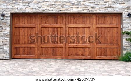 Wood Garage Door - stock photo