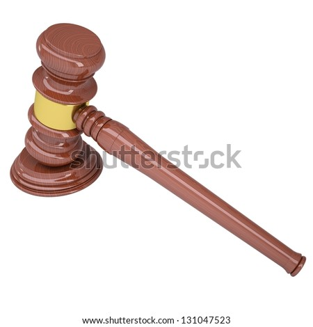 Wood gavel. Isolated render on a white background - stock photo