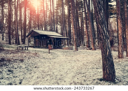 Wood house in the forest - stock photo