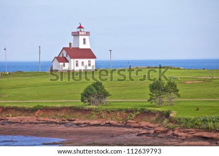 Wood Islands Lighthouse located in eastern Prince Edward Island, Canada. - stock photo