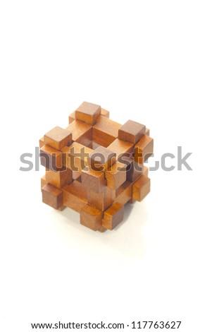 wood logic game, isolated on white - stock photo