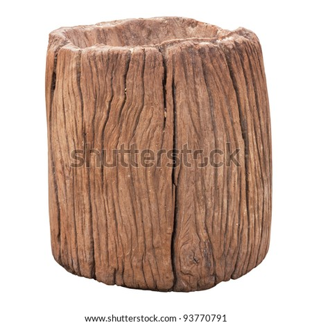 wood mortar isolated on white - stock photo