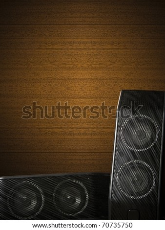 Wood music background with two speakers - stock photo