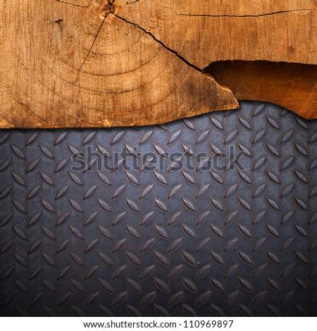 wood on metal - stock photo