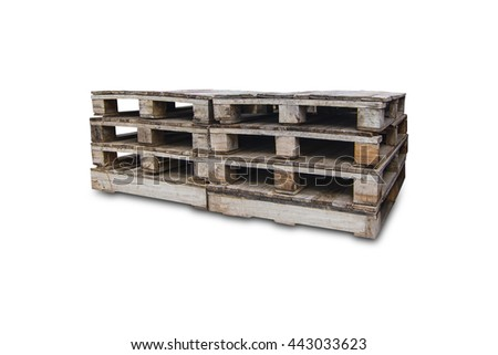 Wood Pallets - crates for transportation  -  white background  -isolated - stock photo