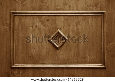 wood panels with ornament used as background - stock photo