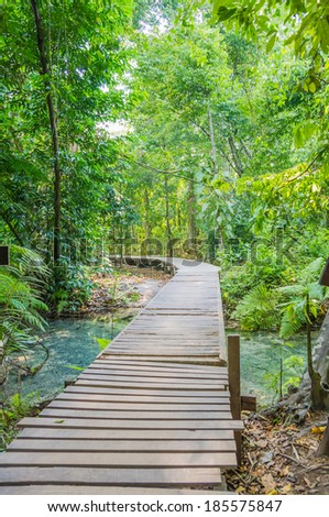 Wood path way among the The Emerald Pool - Sra Morrakot  forest, Thailand - stock photo