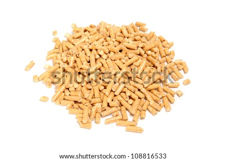 Wood Pellet (Pine) Cat Litter Isolated on White Background - stock photo