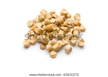 Wood Pellets isolated on white - stock photo