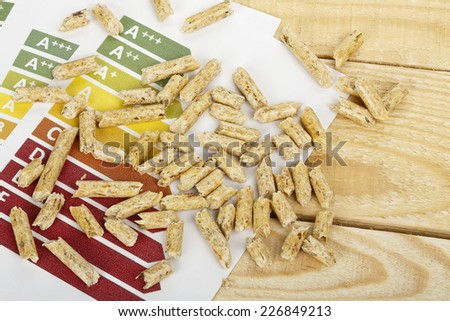 wood pellets on energy efficiency graph - stock photo