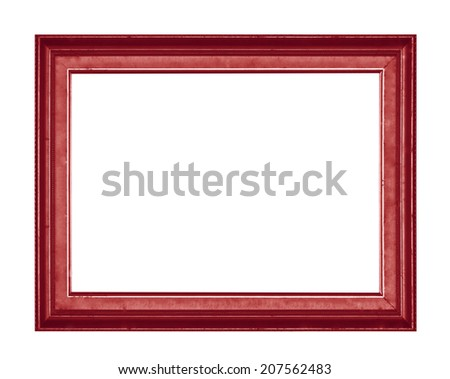 Wood picture frame isolated on white background. - stock photo