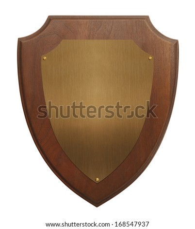 Wood Plaque and Metal Plate with Copy Space Isolated on White Background. - stock photo