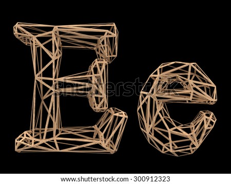 Wood polygon font - stock photo
