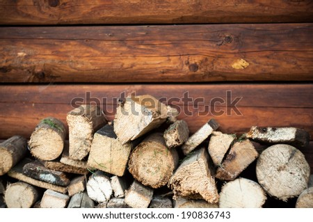 wood prepared for fireplace - stock photo