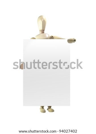 Wood puppet holding sign isolated over white background - stock photo