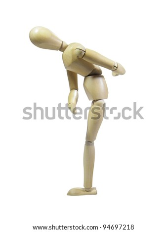 Wood puppet taking a bow isolated over white background - stock photo