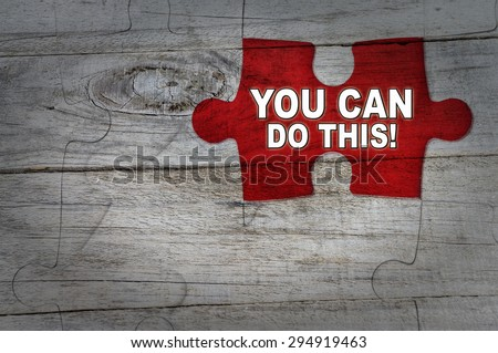 Wood Puzzle: You Can Do This - stock photo
