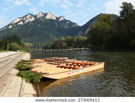 Wood raft in autumn landscape, Trzy Korony,Pieniny, Beskid Niski Mountains, Poland - stock photo