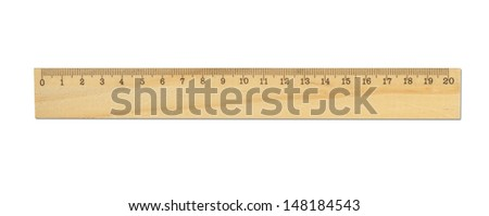 Wood ruler isolated on white - stock photo