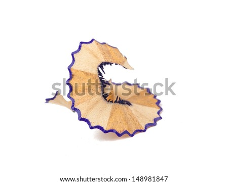 wood shavings from a pencil on a white background - stock photo