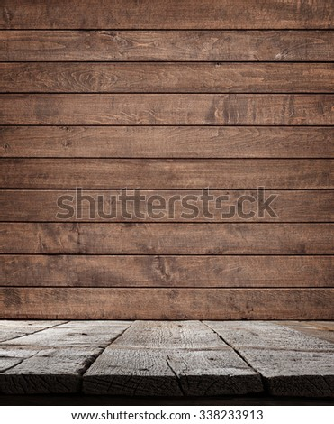 Wood shelf, grunge industrial interior - stock photo