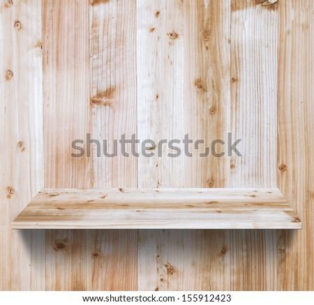 Wood shelf, grunge industrial interior Uneven diffuse lighting version Design component - stock photo