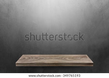 Wood shelf on blank background - stock photo