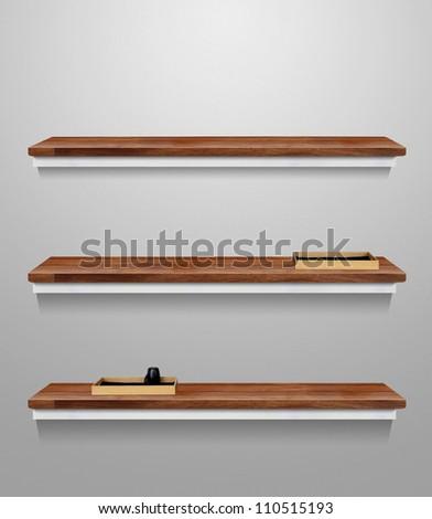 wood shelf on the wall - stock photo