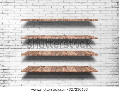 Wood shelf on white brick background  - stock photo
