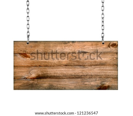 Wood sign from a chain - stock photo