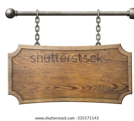 wood sign hanging on chain isolated - stock photo