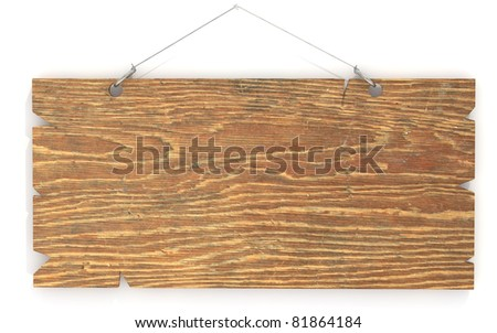 wood sign made of plywood hanging on wall - stock photo