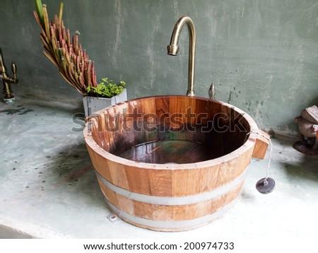 Wood sink - stock photo