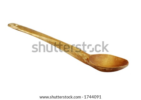 wood spoon, manufactured in late 1940s - stock photo